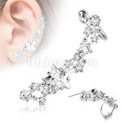 Star CZ Clear Gem Rhodium Plated Brass Non-Piercing Ear Cuff