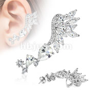 Skyfall Clear Gem Rhodium Plated Brass Non Piercing Ear Cuff