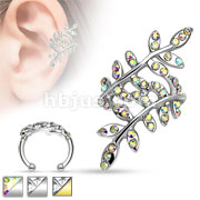 Multi Paved Gem Leaflet Rhodium Plated Brass Non Piercing Ear Cuff