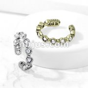 9 Round CZ Set Non-Piercing Ear Cuff
