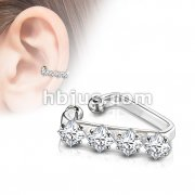 Triangular Four Square CZ Prong Set Non-Piercing Ear Cuff