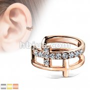Double Cross CZ Paved Non-Piercing Ear Cuff