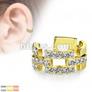 Square Links Paved CZ Non-Piercing Ear Cuff