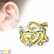 Filigree Linked Hearts with CZ Accents Non-Piercing Ear Cuff