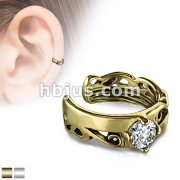 Round CZ Prong Set Celtic Tribal Cut Out Non-Piercing Ear Cuff