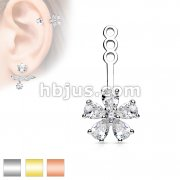 Five Pear CZ Petal Flower Earring Jacket / Cartilage Stud Add on Dangl