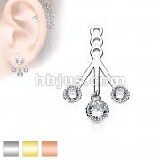3 Claw CZ Set Beaded Edge Round Dangles Ear Jacket / Earring Dangle