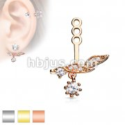 Micro CZ Paved Leaf with Round CZ Dangle Earring Jacket / Cartilage Stud Add on Dangle