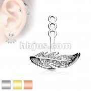 Micro CZ Paved Leaf Earring Jacket / Cartilage Stud Add on Dangle