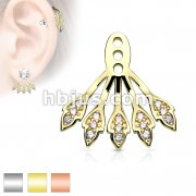 Five Micro CZ Paved Leaves Earring Jacket / Cartilage Stud Add on Dangle