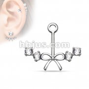 Ribbon Center with 4 CZs Add On Earring/Cartialge barbell Jacket
