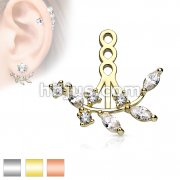 Multi Prong Set CZ Vine Earring Jacket / Cartilage Stud Add on Dangle