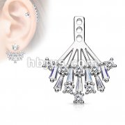Princess Cut CZ and Round CZ Cluster Shield Earring Jacket / Cartilage Stud Add on Dangle