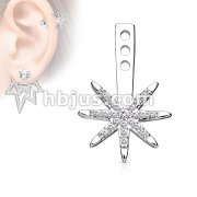 Micro CZ Paved Starburst Earring Jacket / Cartilage Stud Add on Dangle