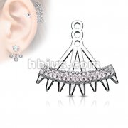 Double Lined Micro Paved CZ Fan with Spikes Earring Jacket / Cartilage Stud Add on Dangle