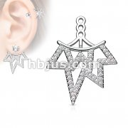 Micro CZ Paved Tribal Fan Earring Jacket / Cartilage Stud Add on Dangle