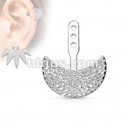 Micro CZ Paved Crescent Earring Jacket / Cartilage Stud Add on Dangle