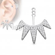 Micro CZ Paved 5 Triangle Fan Earring Jacket / Cartilage Stud Add on Dangle
