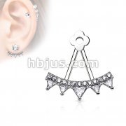 Lined CZ Fan with Triangle Czs Add On Earring/Cartialge barbell Jacket