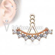 7 Round CZ Set Vintage Fan Earring Jacket / Cartilage Stud Add on Dangle
