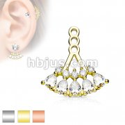 5 Teardrop Array Prong Set CZ Earring Jacket / Cartilage Stud Add on Dangle