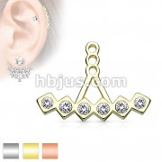 Array of 6 CZ Encased by Diamond Shape Earring Jacket / Cartilage Stud Add on Dangle