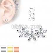 3 CZ Flowers Earring Jacket / Cartilage Stud Add on Dangle