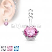 10mm Prong Set Round CZ Earring Jacket / Cartilage Stud Add on Dangle