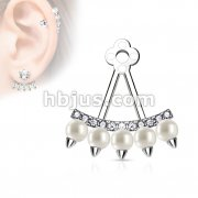 Lined CZ Fan with Pearls Add On Earring/Cartialge barbell Jacket