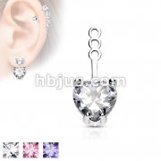 10mm Prong Set Heart CZ Earring Jacket / Cartilage Stud Add on Dangle