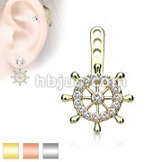 Ship Wheel CZ Paved Helm Earring Jacket / Cartilage Stud Add on Dangle