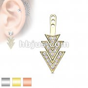 Gem Paved Overlapping 3 Triangles Earring Jacket / Cartilage Stud Add on Dangle