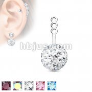 10mm Crystal Paved Ball Earring Jacket / Cartilage Stud Add on Dangle