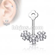 Triple CZ Flower Add On Earring/Cartialge barbell Jacket