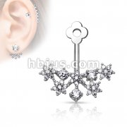 CZ Flower Cluster Fan Add On Earring/Cartialge barbell Jacket
