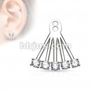 5 CZ Prong Set Fan Add On Earring Jacket