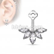5 Marquise Cut CZ Fan Add On Earring/Cartialge barbell Jacket