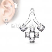 6 Round CZ Cluster Add On Earring/Cartialge barbell Jacket