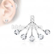 5 Prong Set Round CZ Fan Add On Earring/Cartilage Barbell Jacket