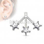 3 Star CZ Fan Add On Earring/Cartilage barbell Jacket