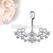 Crystal Paved on Floral Filigree Fan Add On Earring/Cartilage Barbell Jacket