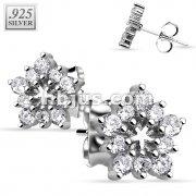 Pair of .925 Sterling Silver Multi CZ Flower Stud Earrings