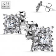 Pair of .925 Sterling Silver Multi Paved Chandelier Stud Earrings