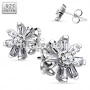 Pair of .925 Sterling Silver Multi CZ Flower Stud Earrings