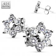 Pair of .925 Sterling Silver Center Star Flower w/ CZ Shard Petals Stud Earrings