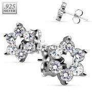 Pair of .925 Sterling Silver Center Star Flower w/ CZ Shard Petals Stud Earrings