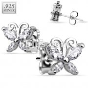 Pair of .925 Sterling Silver CZ Butterfly Stud Earrings