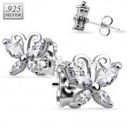 Pair of .925 Sterling Silver CZ Butterfly Stud Earrings