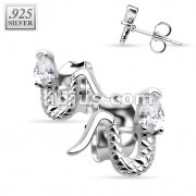 Pair of .925 Sterling Silver CZ Snake Stud Earrings