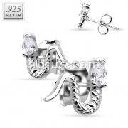 Pair of .925 Sterling Silver CZ Snake Stud Earrings